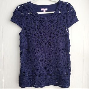 Lilly Pulitzer Jamie Crochet Sweater Top